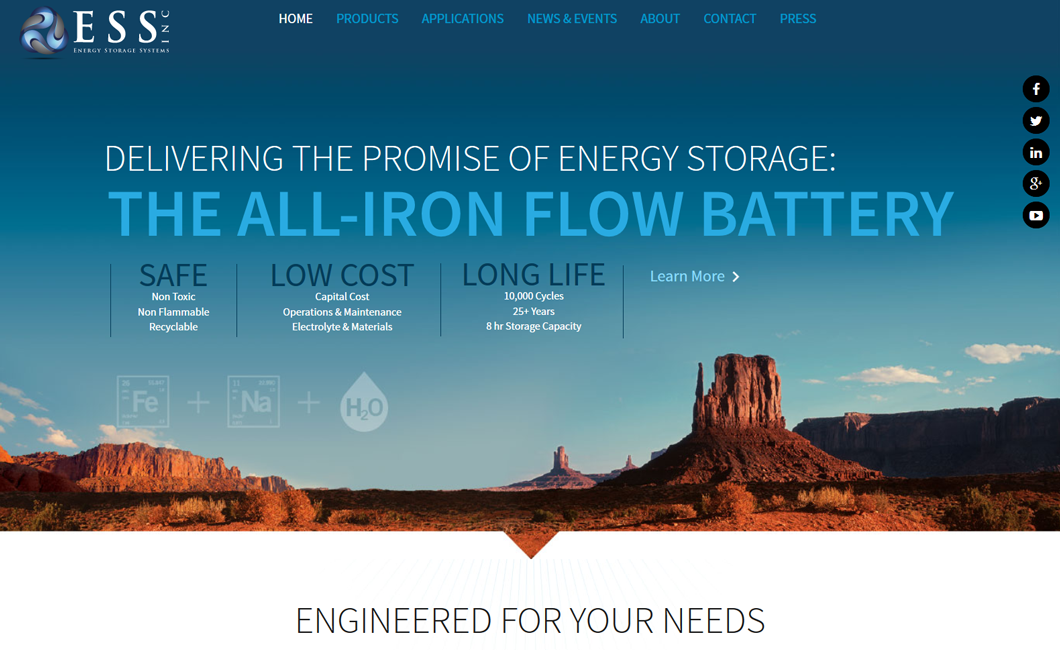Energy Storage Systems, Inc. Website Home Page